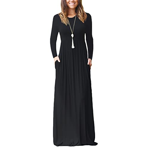 c08e935a4846 DEARCASE Women Long Sleeve Loose Plain Maxi Pockets Dresses Casual Long  Dresses