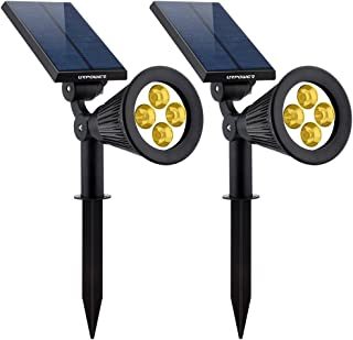 URPOWER Solar Lights 2-in-1 Solar Powered 4 LED Adjustable Spotlight Wall Light Landscape Light Bright and Dark Sensing Auto On/Off Security Night Lights for Patio Yard Driveway Pool - Warm White (2)