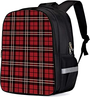 Kids School Backpack for Children Red Plaid English Kilt Material Pattern Scotland Durable Schoolbags Girls Boys Lightweight Daypack 13