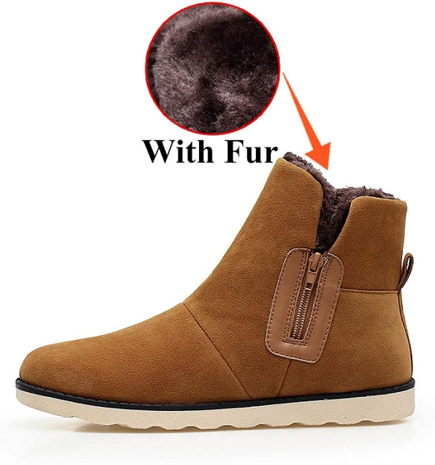 FHCGMX Flock Male shoes For Men Adult Winter With Snow Boots Casual Non-Slip Sneakers Footwear Ankle Boots