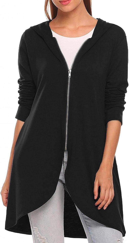 Misaky Women's Casual Solid Zipper Slim Fit Medium Long Swallow Tail Hoodie Long Sleeve Jacket Coat