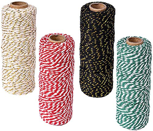 1312 Feet Christmas Twine 2 mm Cotton String Xmas Wrapping Kit for Gift Packing, DIY Arts Crafts, 4 Colors (Red/Green/Brown/Black) (2 Style)