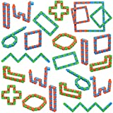 Yeetec 24 Pack 24 Links Wacky Tracks Snap and Click Fidget Toys, Finger Sensory Toys, Snake Puzzles for Stress Relief, Party Bag Fillers, Party Favours, Random Color