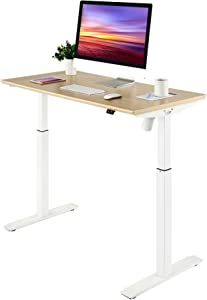Seville Classics Airlift S2 Electric Adjustable Solid One-Piece Table Top Desk Home & Office Sit Stand Workstation Furniture, 47