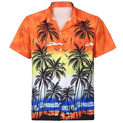 Men's Tops Classic Casual Hawaiian Shirt Short Sleeve Front-Pocket Beach Floral Printed Blouse Top Tee Orange