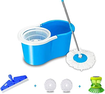 SHIVONIC Advance Home Cleaning 360° Spin Floor Cleaning Easy Advance Tech Bucket PVC Mop & Rotating Steel Pole Head with 1 Portable Wiper,1 Dish Brush 2 Microfiber Refill Head Standard Color Blue