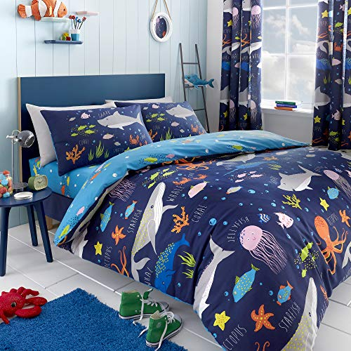 Bedlam Sea Life-Glow in The Dark Duvet Cover Set, Multicolour, Double