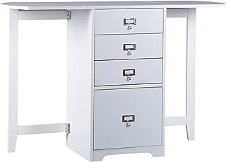 Southern Enterprises Fold Out Organizer & Craft Desk - Convertible Folding Desktop - White Finish