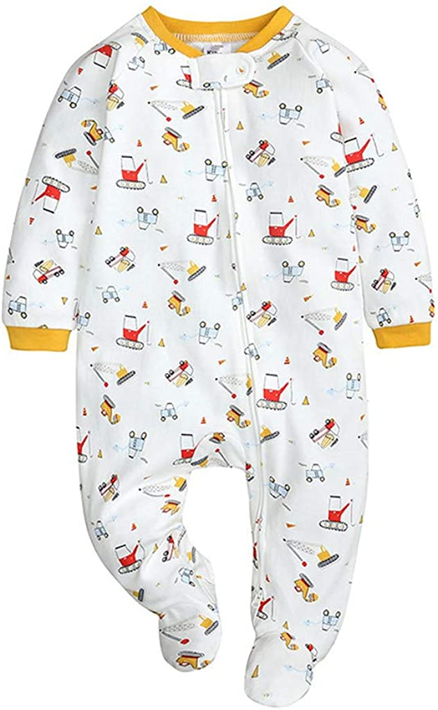 DOYIMBO Baby Boy Girl Clothes One Piece Zip Front Sleeper Pajamas Short Sleeve Jumpsuit Loose Fit Romper Newborn Outfits