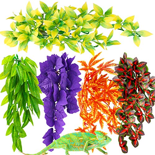 5Pieces Artificial Reptile Plant...