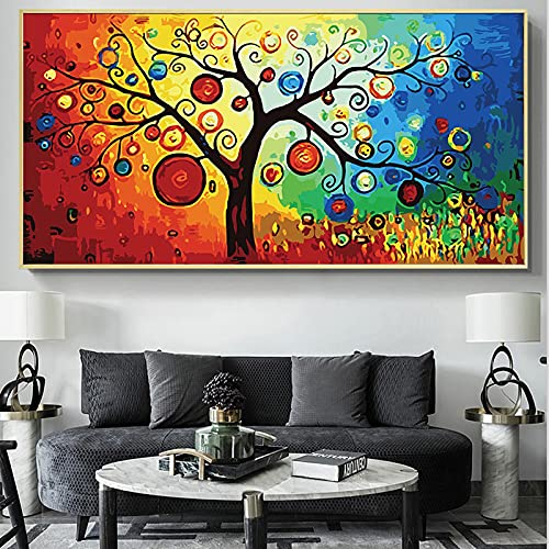 Tree of Life Money Tree Abstract Painting on Canvas Scandinavian Posters and Prints Modern Art Picture for Living Room 30X60cm Frameless