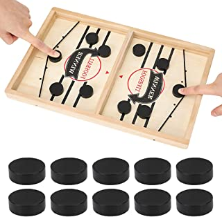 Fast Sling Puck Game, Sling Foosball, Table Desktop Battle 2 in 1 Ice Hockey Game, Winner Board Games Toys for Adults Parent-Child Interactive Chess Toy Board Table Game(14.5 in x 9.5 in)