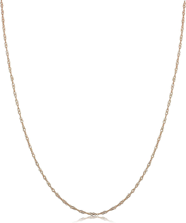 Kooljewelry 10k Rose Gold Singapore Chain Necklace (0.7 mm, 1 mm, 1.4 mm, 1.7 mm)