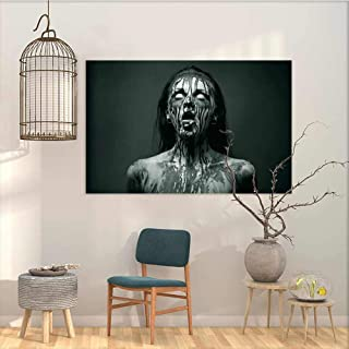 Oncegod Art Original Oil Painting Sticker Zombie Decor Unusual Scream Monster Woman with Empty Eyes Looking Up Horror Picture Contemporary Abstract Art Black and White W23 xL15