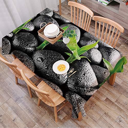 Nappe Rectangulaire Nappe Coton et Lin,Plante, pierres de basalte avec des feuilles de bambou collant des gouttelettes d'eau Harmony o,LavableModerne pour Décoration de Table de Cuisine (140 x 200 cm)