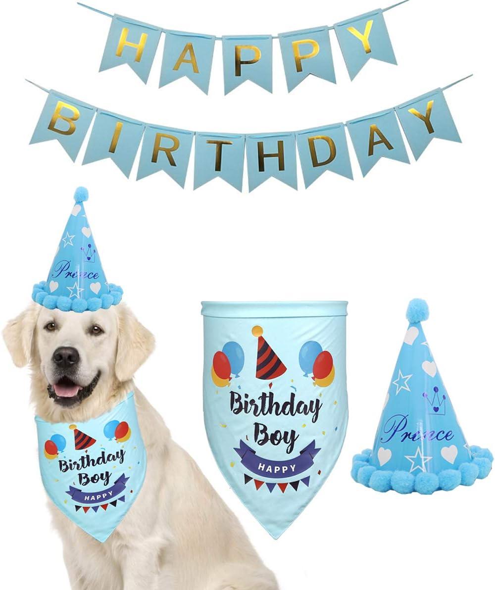 Portland Mall Yosbabe Dog Birthday Decorations Bandana Sc Directly managed store Pet Kit