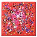 Aututer Nueva bufanda de seda de moda para mujer de 130 cm, flores, pájaros y bestias, bufanda cuadrada de seda de imitación de sarga estampada, bufanda de chal