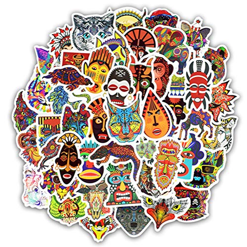 QIANGWEI 50 Stuks Sticker Dier Mandala Boheemse Tribal Masker Tattoo Decoratie Sticker Om Diy Bagage Laptop Reiskoffer Gitaar