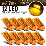 Partsam Amber Lens 2' x 6' Rectangular 13 diode LED Marker Light w/Reflector Surface Mount, Multi Faceted 6x2 Rectangle Led Truck and Trailer Side Marker and Clearance Lights (Pack of 10)