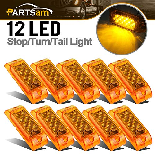 Partsam Amber Lens 2 x 6 Rectangular 13 diode LED Marker Light w/Reflector Surface Mount, Multi Faceted 6x2 Rectangle Led Truck and Trailer Side Marker and Clearance Lights (Pack of 10)