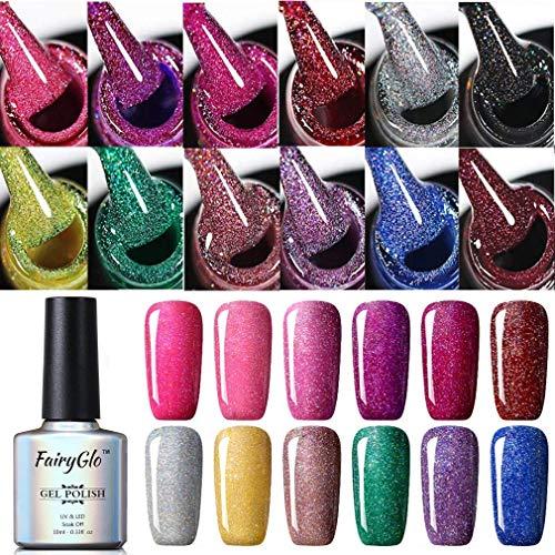 UV Nagellack Gel Shellac Set für Nageldesign Nail Polish Maniküre Set Soak Off UV LED Gel Gellack Gel Farbe von Fairyglo -12pcs Neon Bling 006(12xStück 10ml)