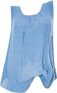 HIRIRI Womens Tank Tops Plus Size Cotton Linen Sleeveless Baggy T-Shirt Vest Tee Ruched Blouse Shirts