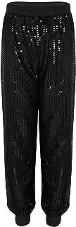 Women's Glitter Sequins Harem Hip Hop Dance Pants Baggy Hippie Trousers Casual Loose Wear