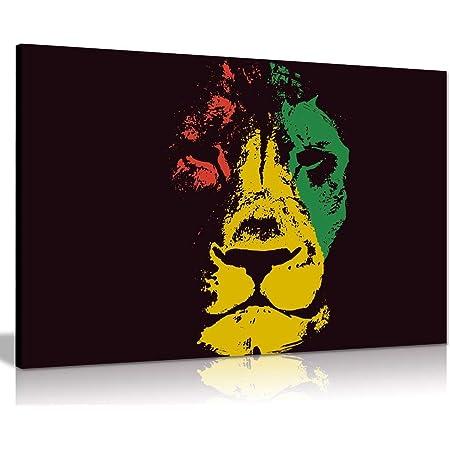 Jamaican Rasta Lion Canvas Wall Art Picture Print 24x16 Amazon Co Uk Kitchen Home