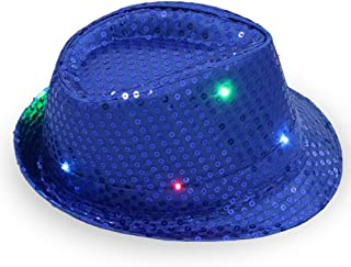 1 stück frauen männer led leuchten jazz hut, Erwachsene Glitter Pailletten Hut Kostüm Party Cap für Tanzparty mit 9 Blinkende LED Lampen