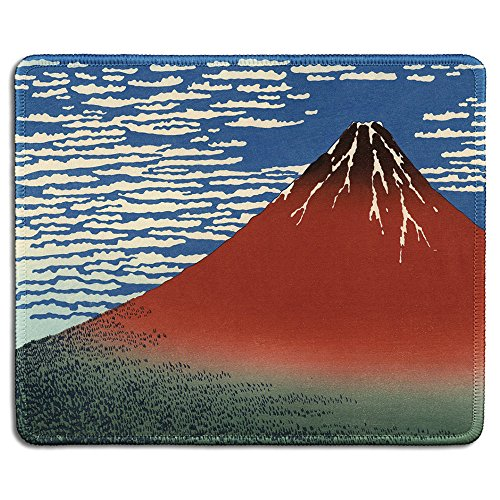 dealzEpic - Art Mousepad - Natural Rubber Mouse Pad with Famous Fine Art Painting of Red Fuji (Mount Fuji in Clear Weather) by Katsushika Hokusai - Stitched Edges - 9.5x7.9 inches