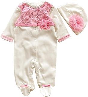 Kobay Neugeborenen Baby Mädchen Cap Hut  Strampler Body Playsuit Kleidung Set Outfit