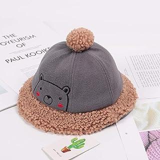 DWXWMZ Sombrero para Niños Cartoon Bear Child Baby Boy Girl HatPlush Warm 1-2 Years Old Child Dome Hair Ball Fisherman Bucket Hat Basin Caps