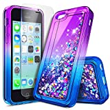 iPhone 5C Case with Screen Protector HD Clear for Girls Kids Women, NageBee Glitter Liquid Quicksand Waterfall Floating Flowing Sparkle Shiny Bling Diamond Cute Case for iPhone 5C -Purple/Blue