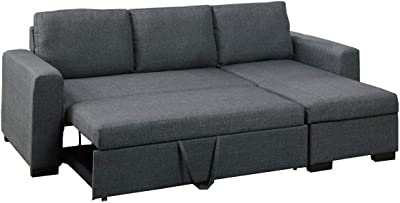 Amazon.com: Dorel Asia Faux Leather Sectional Sofa, Black ...