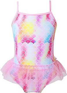 Mädchen Badeanzug UV-Schutz Fischschuppen Langarm Badeshirts mit Bottoms Outfit