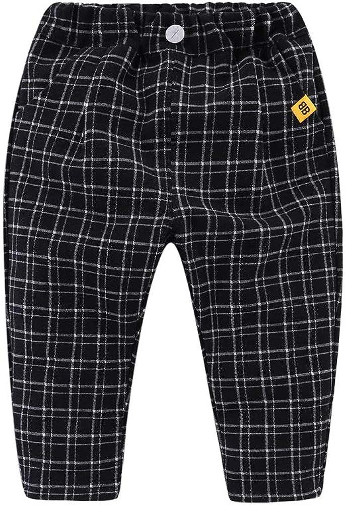 Little Boys Casual Pants Spandes Elastic Waist Plaid Pattern Pocket Pants