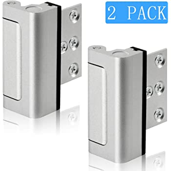 Lifechaser 2PACK Home Security Door Reinforcement Lock Childproof Door Lock Defender, Add High Security to Home Prevent Unauthorized Entry, Aluminum Construction Finish (2Pack)