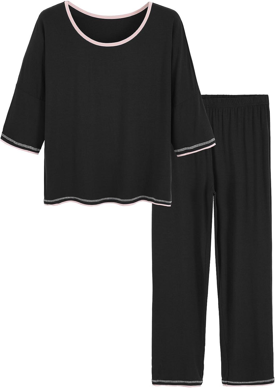 Latuza Women's 3/4 Sleeve Scoop Neck Pajama Set