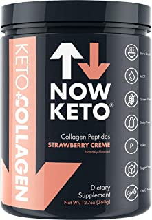 NOW KETO® Keto Collagen™ Peptides w/MCTs Powder (Medium Chain Triglycerides) - Keto Diet - Low Carb High Fat (LCHF) & Great Fiber Source, Great for The Ketogenic Diet & Ketosis- Strawberry Creme