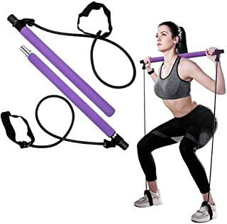 LEFOR·Z Portable Pilates Bar Kit with Exercise Resistance Band, Yoga Pilates Stick with Foot Loop for Legs and Butt, Full ...