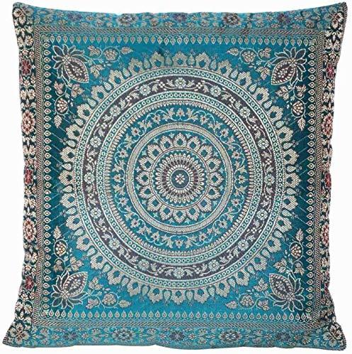 Ruwado Türkis Seide Kissenbezug | Zierkissenbezug | Sofakissenbezug | Dekokissen | Zierkissen aus Indien - 40 x 40 cm *Handgewebt und handgenäht von Kunsthandwerkern aus Kaschmir-Indien
