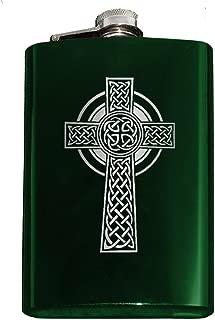 Engraved CELTIC CROSS 8oz Stainless Steel Hip Flask (Green)