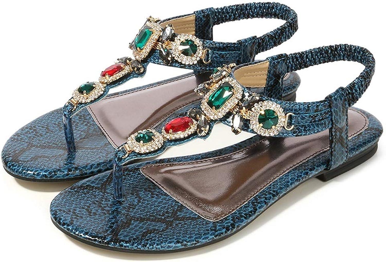 ZHAO YELONG Retro Large Size Women's shoes Rhinestone Sandals Summer Flat Sandals