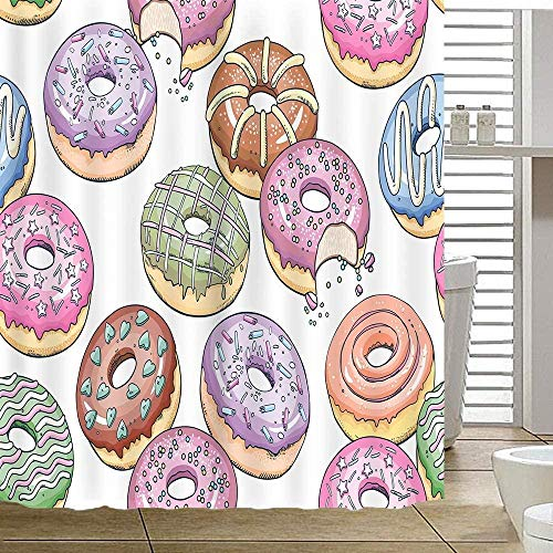 DINGQING Colorful Food Shower Curtain Donut Powder Bathroom Shower Curtain Waterproof Bathroom Decoration 72x72inch Easy to Clean Contains 12 Plastic Hooks