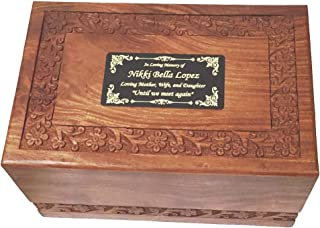 NWA Adult Size Wood Human Funeral Cremation Urn with Custom Engraving