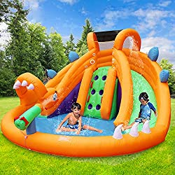 RETRO JUMP Dinosaur Outdoor Bouncer with Big Dual Water Slides Park