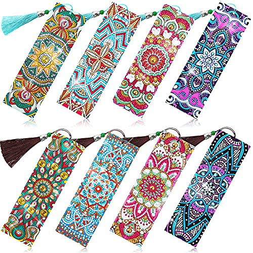 8 Pieces 5D Diamond Painting Bookmarks Floral Rhinestone Bookmarks PU Leather Art Bookmarks DIY Diamond Painting Bookmarks Mandala Style Bookmarks with Tassels for Adults Kids Crafts Supplies
