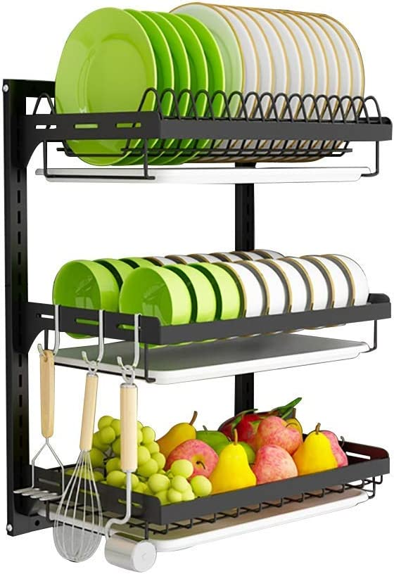 3 Tier Wall Mounted Dish Drying D - Rack Layer Adjustable Outlet sale feature Max 89% OFF Height