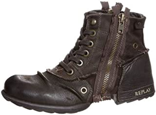 Clutch Dark Brown Mens Side Zip Mid Ankle Leather Army Boots