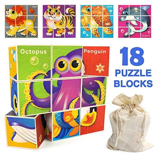 Quokka Toddler Puzzles Wooden Blocks for Kids Ages 48 and 35 Year Old Animas Matching and Building Games for Toddlers on 18 Wood Blocks Montessori Learning Toys for Boys amp Girls in a Storage Bag